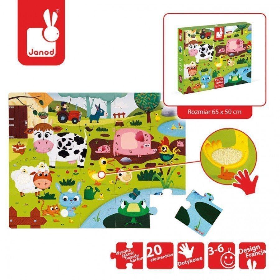 Janod - Puzzle sensoryczne 20 elementów Farma - Esy Floresy
