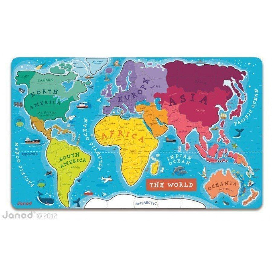 Janod - Puzzle magnetyczne Mapa świata | Esy Floresy