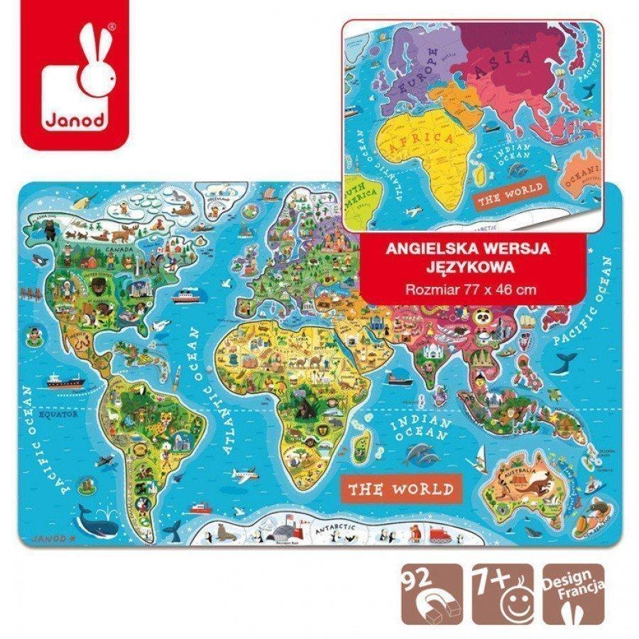 Janod - Puzzle magnetyczne Mapa świata - Esy Floresy