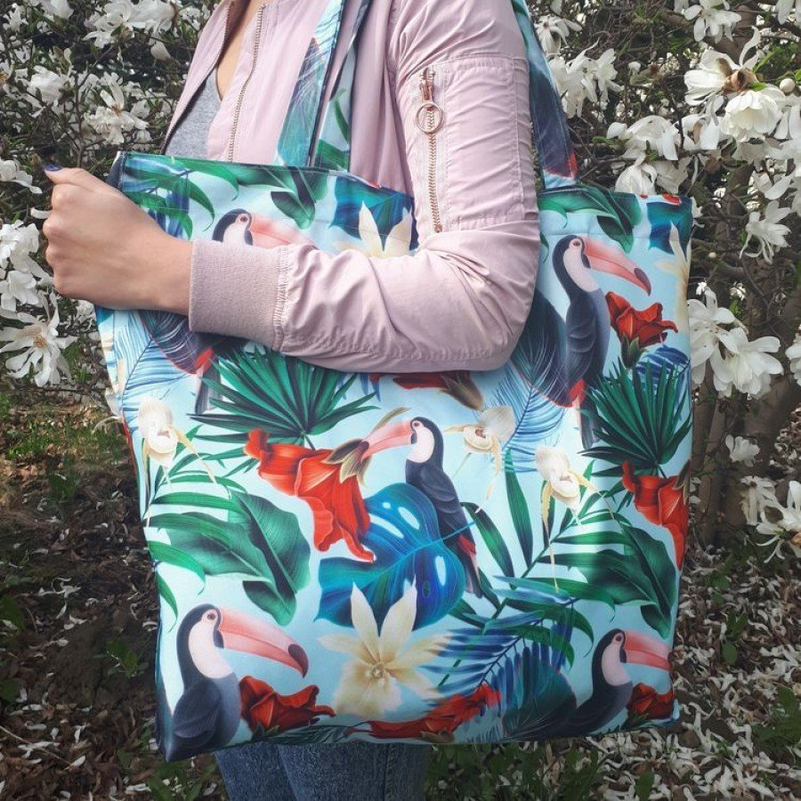 La Millou -  Blue Hawaiian Birds Shopper Bag | Esy Floresy