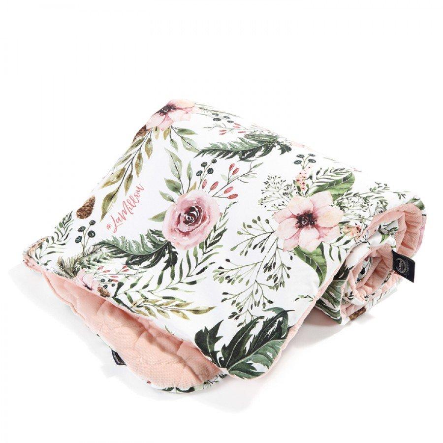 La Millou - Kocyk Średniaka Slim - Wild Blossom - Powder Pink, Velvet Collection   Esy Floresy