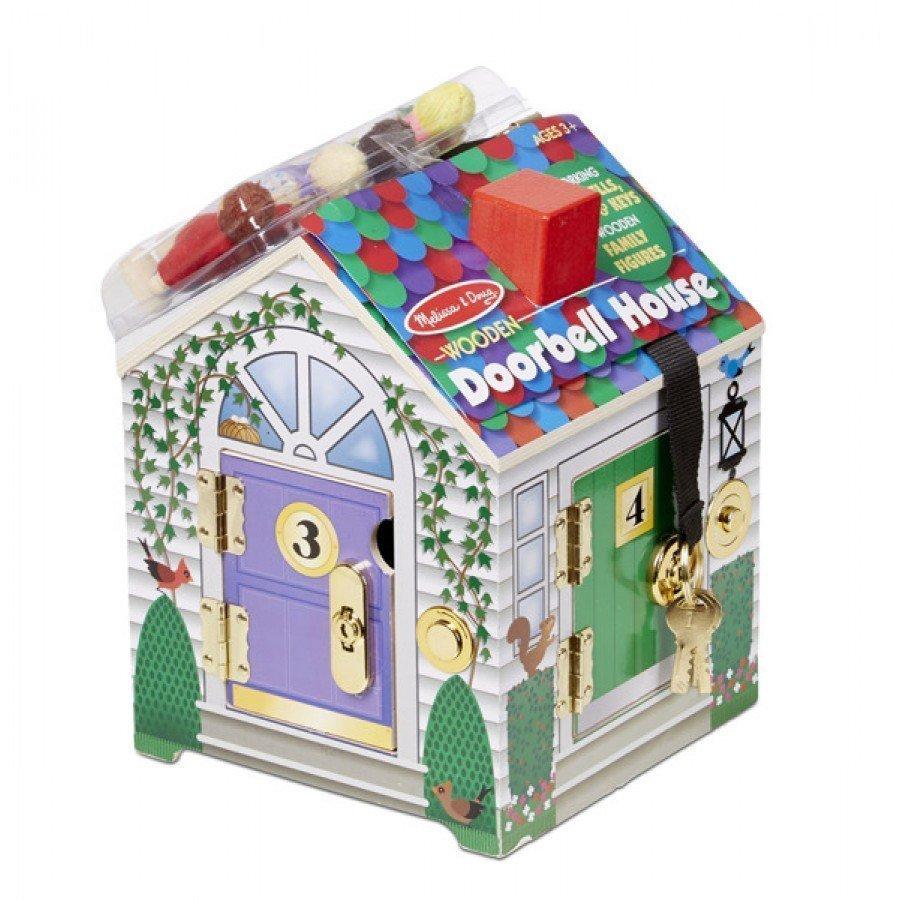 Melissa & Doug - Drewniany domek dźwiękowy z zamkami i kluczami | Esy Floresy