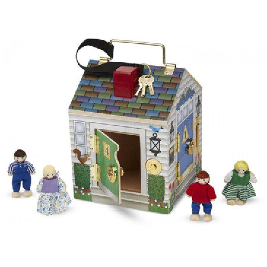 Melissa & Doug - Drewniany domek dźwiękowy z zamkami i kluczami - Esy Floresy