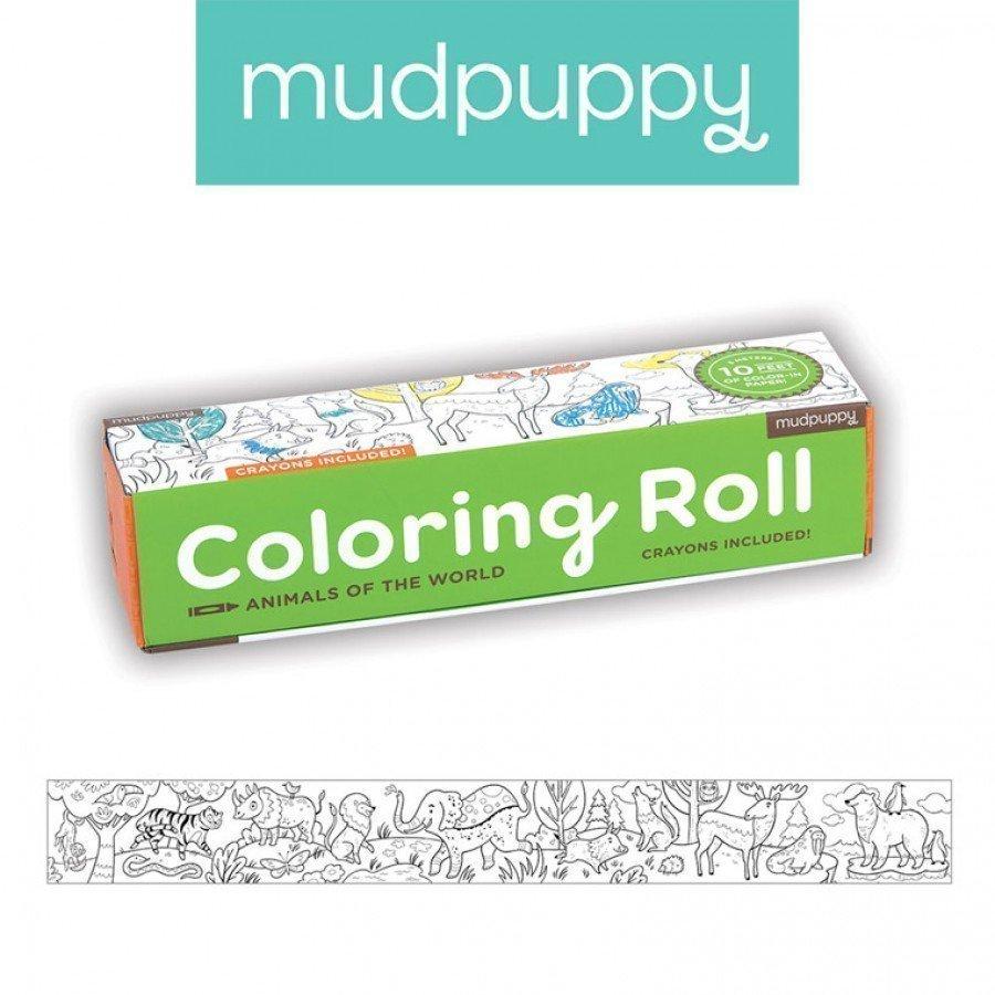 Mudpuppy - Kolorowanka w rolce 3m z 6 kredkami Zwierzęta Świata | Esy Floresy
