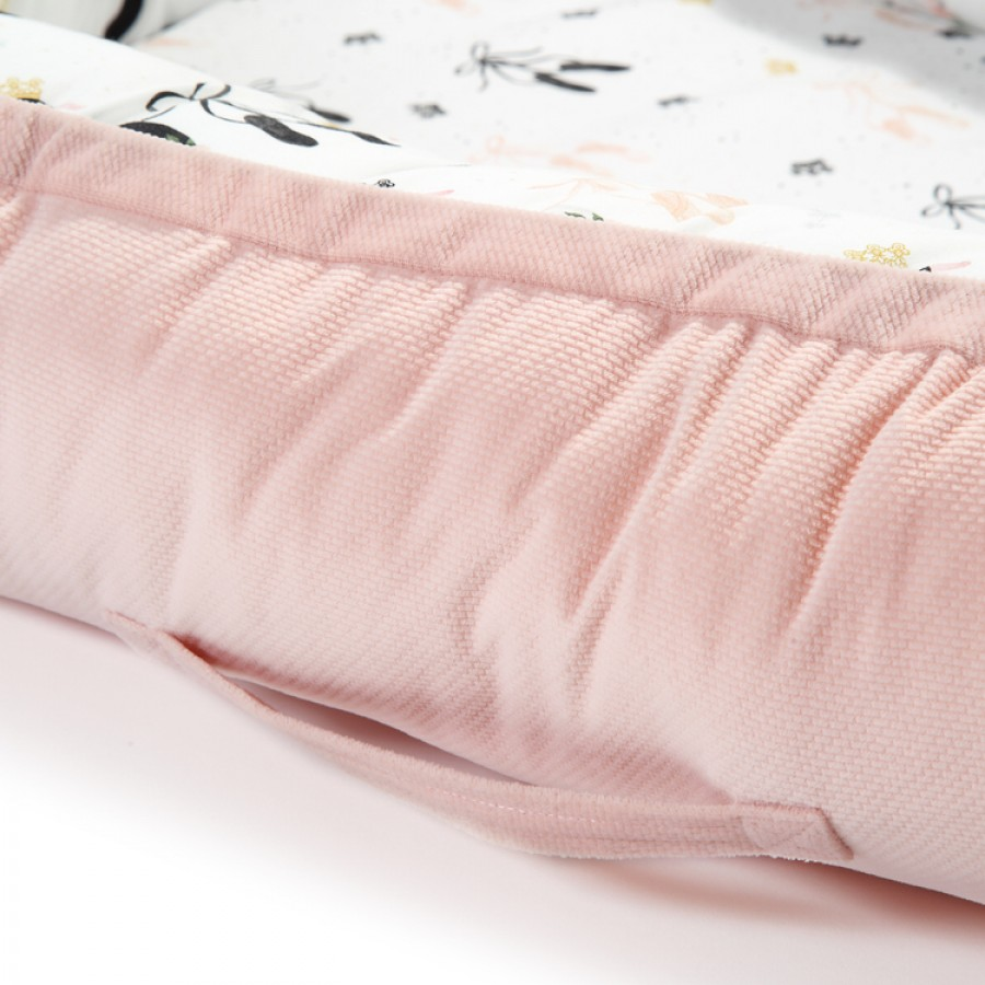 La Millou - Velvet Collection Baby Nest - Moonlight Swan - Powder Pink - Esy Floresy