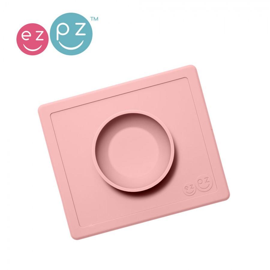 EZPZ - Silikonowa miseczka z podkładką 2w1 Happy Bowl pastelowy róż | Esy Floresy