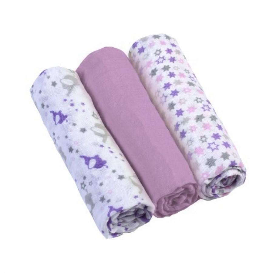 BABYONO Pieluszki muślinowe z kolorem liliowym - 3 szt. | Esy Floresy