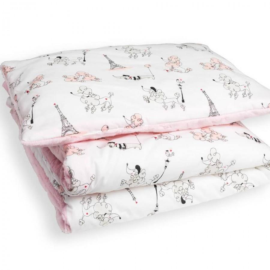 WoodLook - Koc + Poduszka Psy Francuskie minky różowe gwiazdki | Esy Floresy