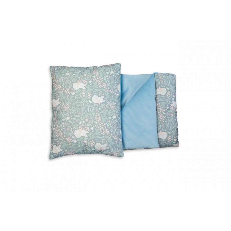 WoodLook - Koc + Poduszka Liski velvet gładki błękitny - Esy Floresy