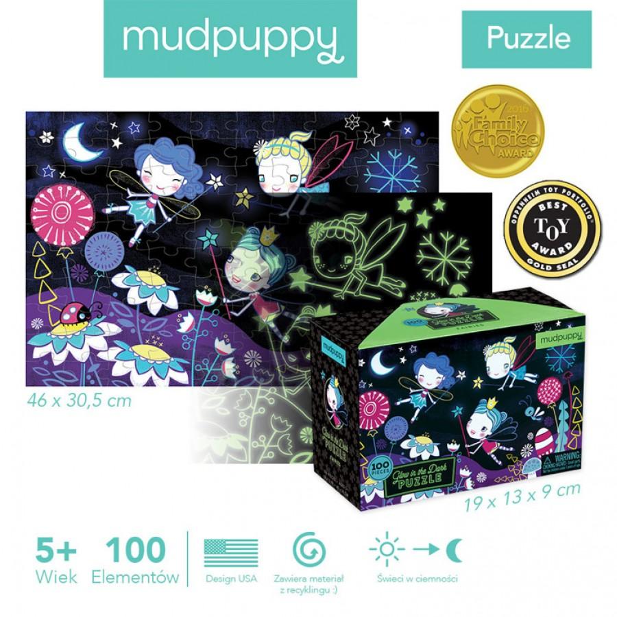 Mudpuppy Puzzle świecące w ciemności Wróżki 100 elementów 5+ | Esy Floresy