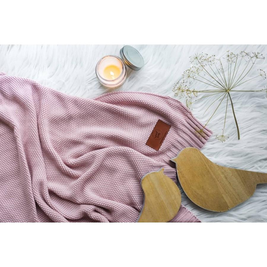 WoodLook - Bambusowy koc dziany z jonami srebra, różowy - Esy Floresy
