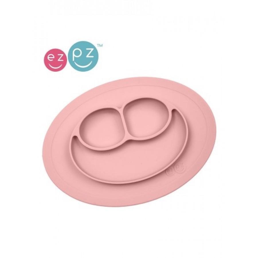 EZPZ Silikonowy talerzyk z podkładką mały 2w1 Mini Mat Pastelowy Róż | Esy Floresy