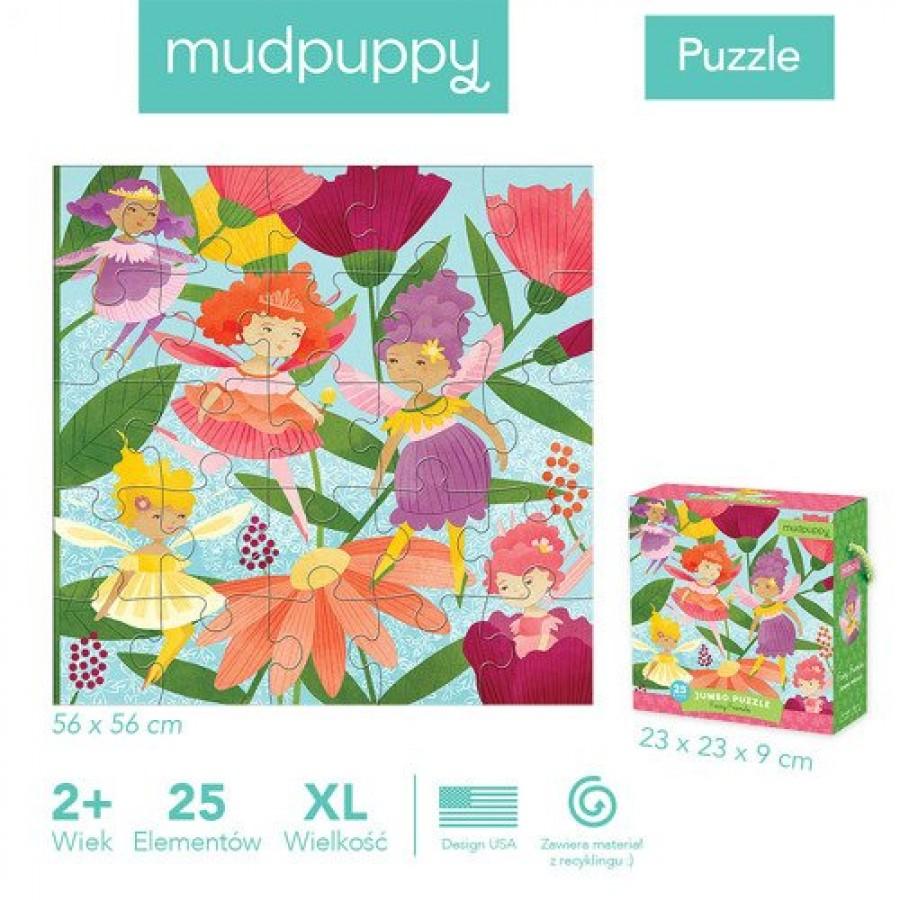 Mudpuppy - Puzzle podłogowe Jumbo Wróżki 25 elementów 2+ - Esy Floresy