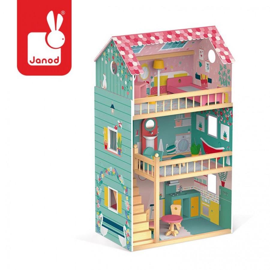Janod-Domek dla lalek XL z 12 akcesoriami Happy Day, Janod - Esy Floresy