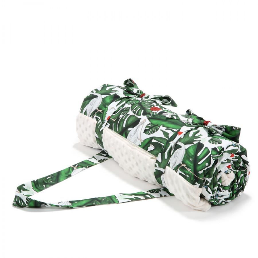 La Millou - Koc picnic z kieszonką , mata do zabawy XL - Evergreen tiger - Ecru . | Esy Floresy