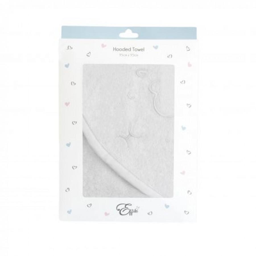 Effiki - Ręcznik z kapturkiem - Owieczka , biały z biała lamówka 95x95 cm  - Esy Floresy