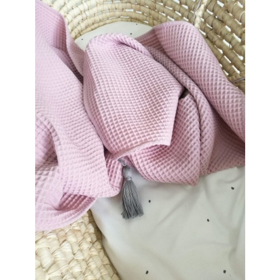 ZuMiZou- Kocyk bawełna wafelek - brudny róż 70x100.   Esy Floresy