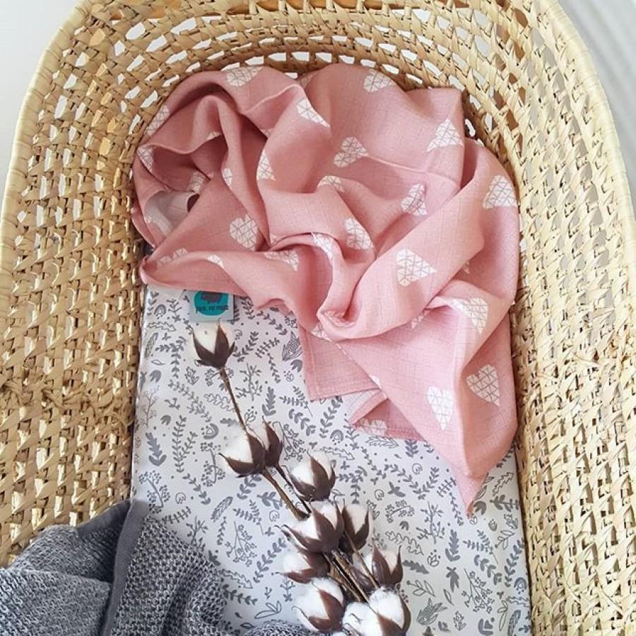 Pink no more - Otulacz muślinowy - serce róż . - Esy Floresy