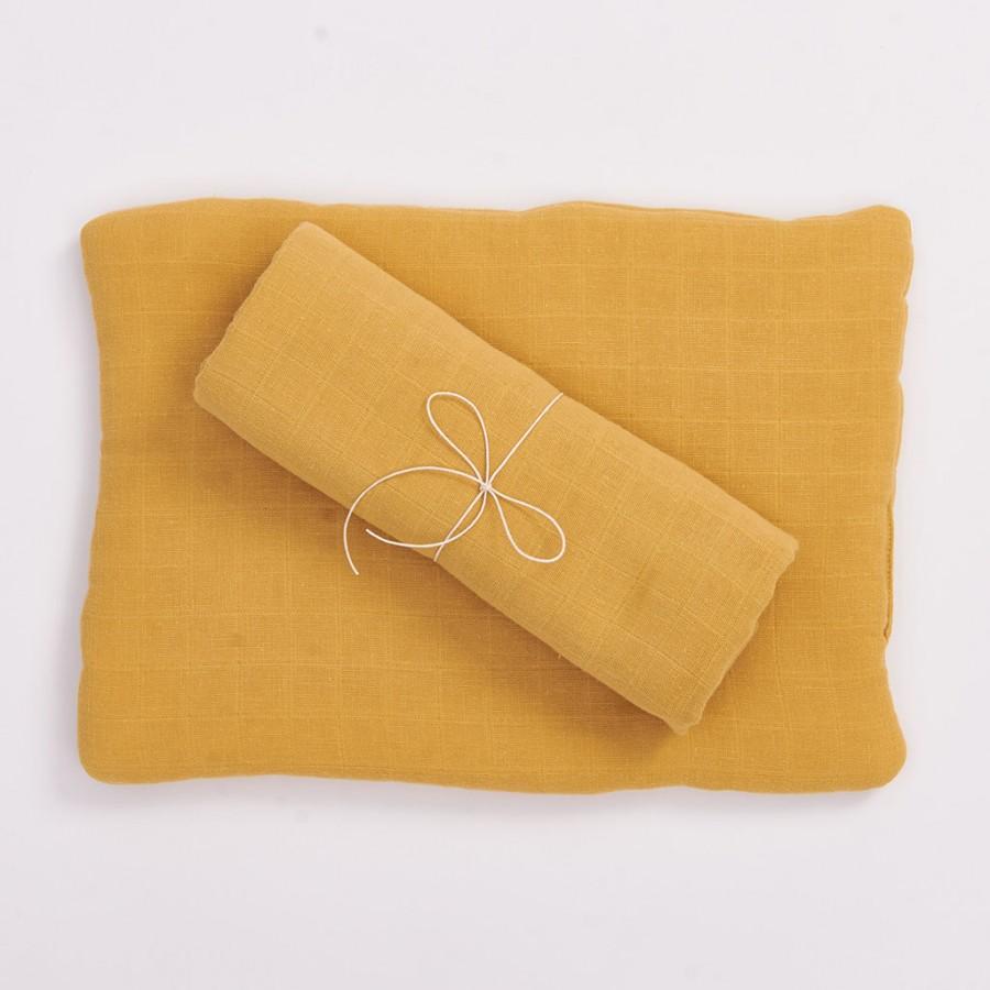 Bim Bla - Poduszka z bawełny organicznej Musztardowa - Esy Floresy