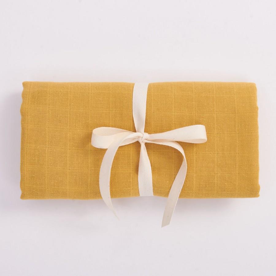 Bim Bla - Otulacz z bawełny organicznej - musztardowy .  | Esy Floresy