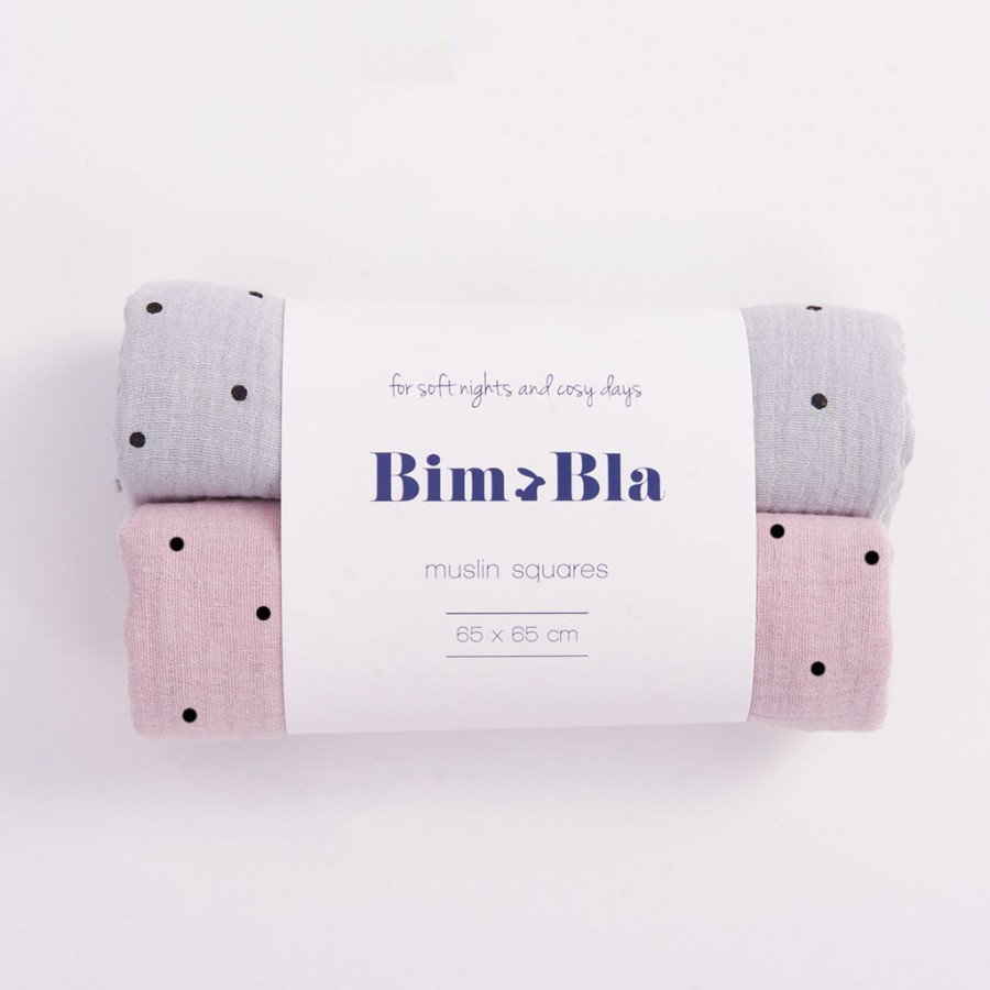 Bim Bla - Zestaw pieluszek muślinowych w kropeczki Szaro-Różowy  - Esy Floresy