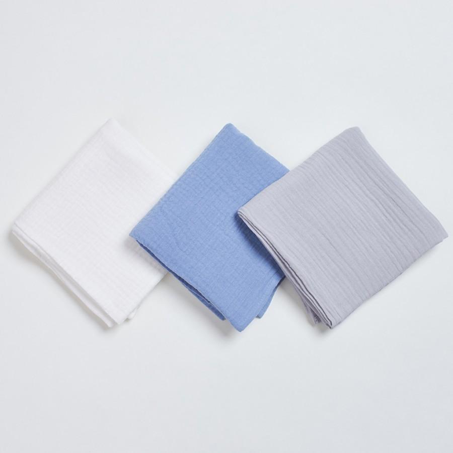 Bim Bla - Zestaw trzech pieluszek muślinowych Niebieski - Esy Floresy