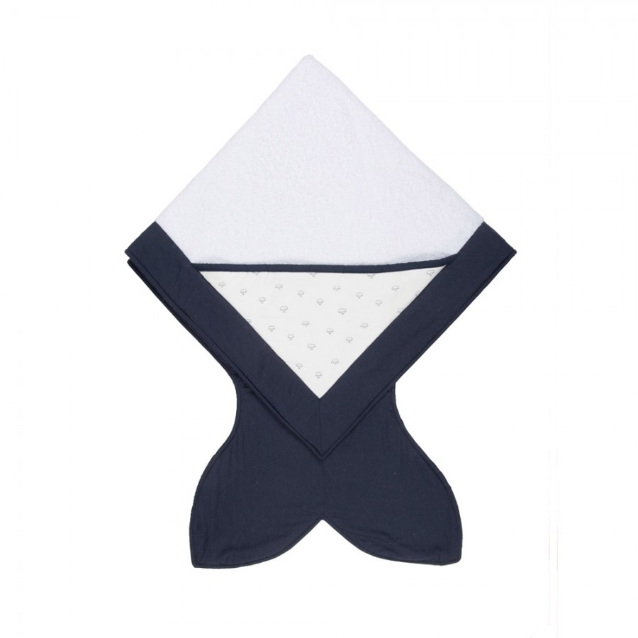 Baby Bites - Ręcznik z kapturkiem 88 x 88 cm Paper Boats Navy Blue - Esy Floresy