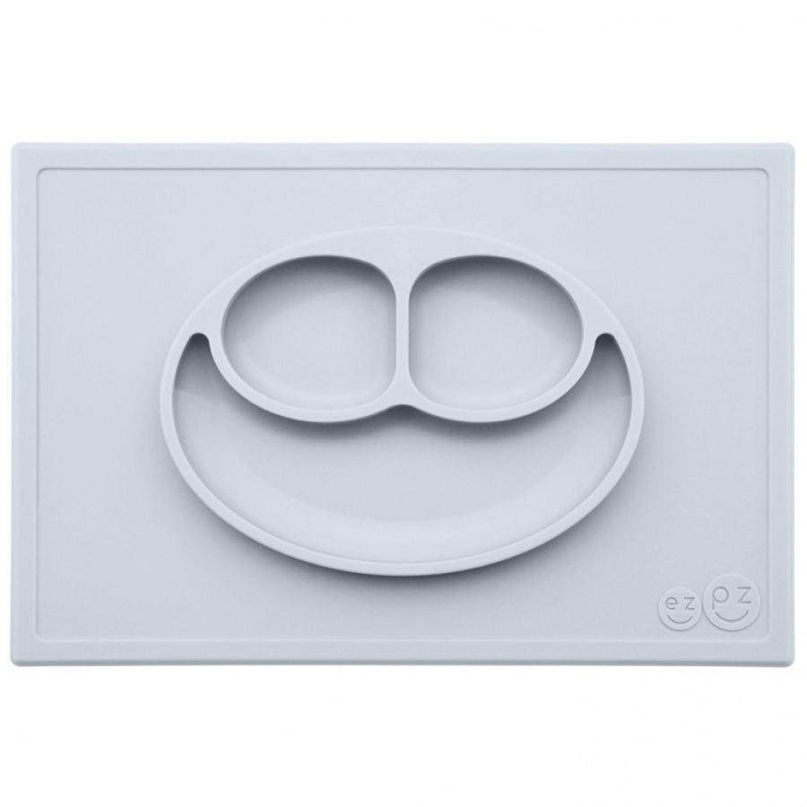 EZPZ -  Silikonowy talerzyk z podkładką 2w1 Happy Mat pastelowa szarość.  - Esy Floresy