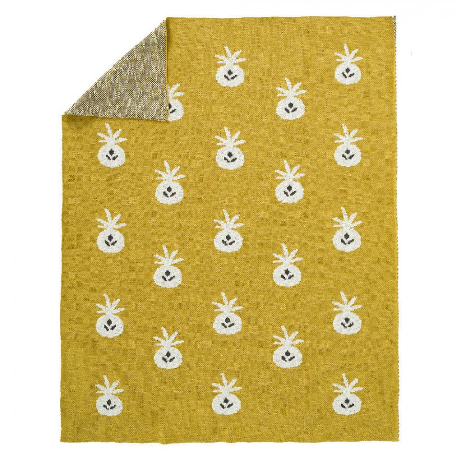 Fresk - Tkany kocyk z bawełny organicznej 80 x 100 cm Ananas Mustard - Esy Floresy