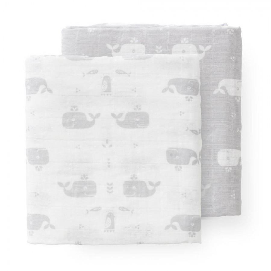 Fresk - Pieluszki muślinowe zestaw 2 szt. 70 x 60 cm Wieloryb Dawn grey - Esy Floresy