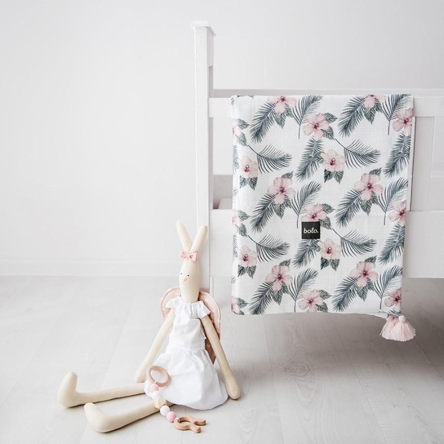 Bolo - Muślinowy kocyk Kwiaty 75x95 - Esy Floresy