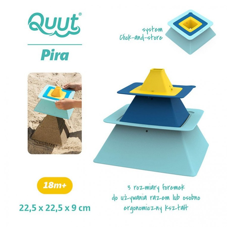 QUUT - Zestaw 3 foremek do piasku Piramida Pira Vintage Blue + Deep Blue + Mellow Yellow - Esy Floresy