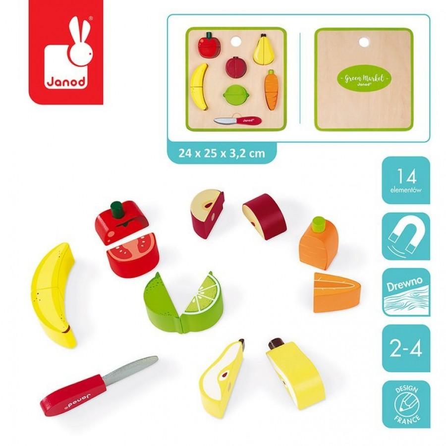 Janod - Układanka drewniana 3D Warzywa i owoce zestaw do krojenia z magnesami - Esy Floresy