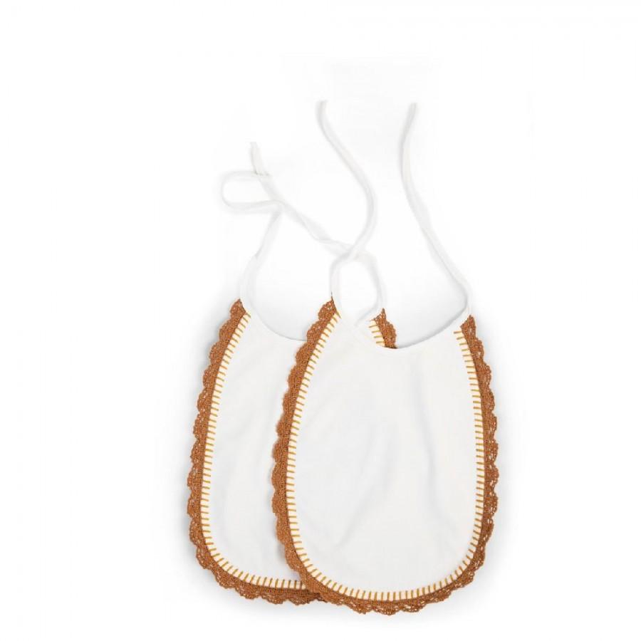 Childhome - Zestaw 2 szt. Śliniaków Jersey Crochet Ecru - Esy Floresy