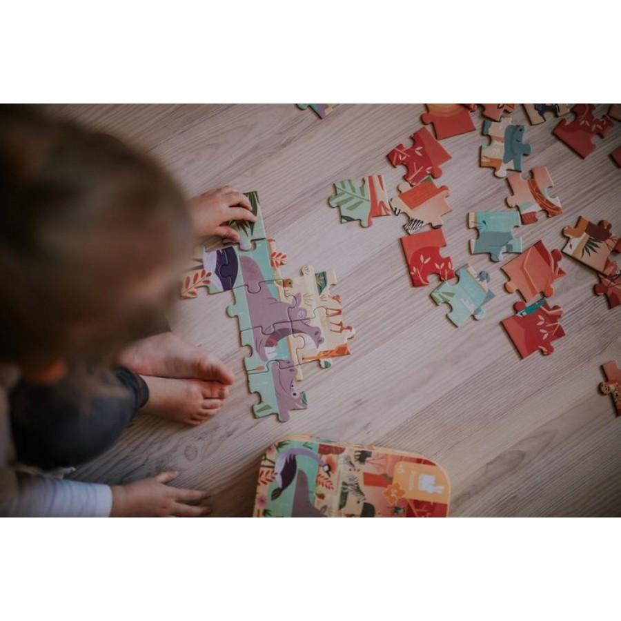Janod - Puzzle w walizce Rezerwat zwierząt 54 elementy 5+ - Esy Floresy