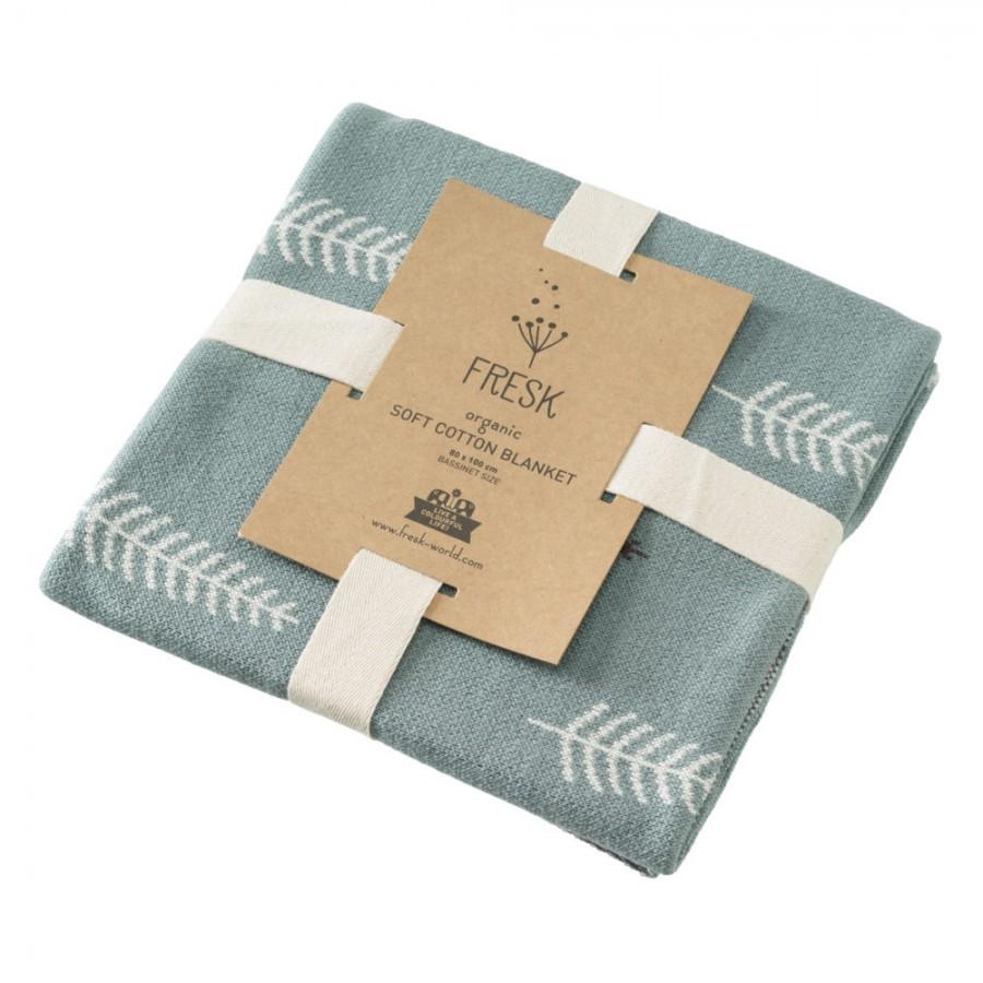 Fresk - Letni tkany kocyk z bawełny organicznej 80 x 100 cm Las Green - Esy Floresy