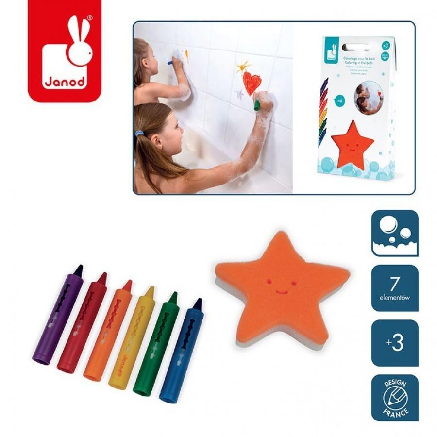 Janod - Kredki do kąpieli 6 kolorów z gąbką 3+ - Esy Floresy