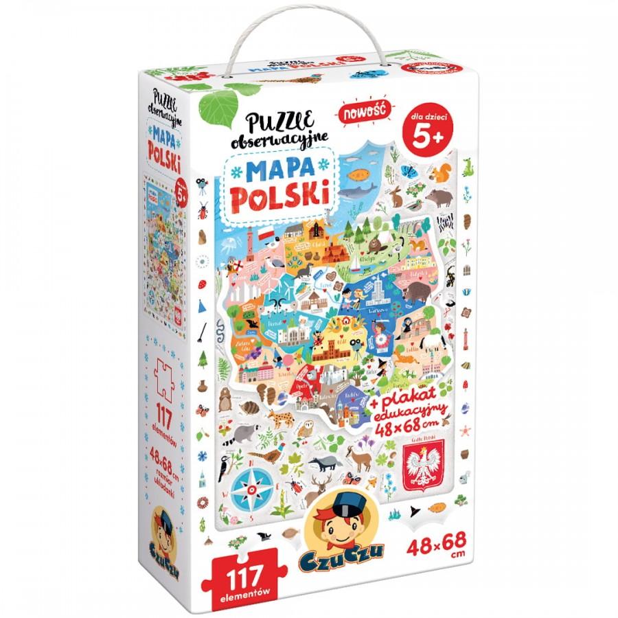 CzuCzu - Puzzle obserwacyjne Mapa Polski - Esy Floresy