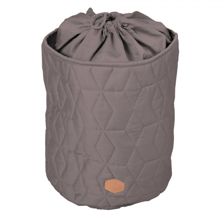 Filibabba - Zamykany pojemnik materiałowy na zabawki Pikowany Dark Grey - Esy Floresy