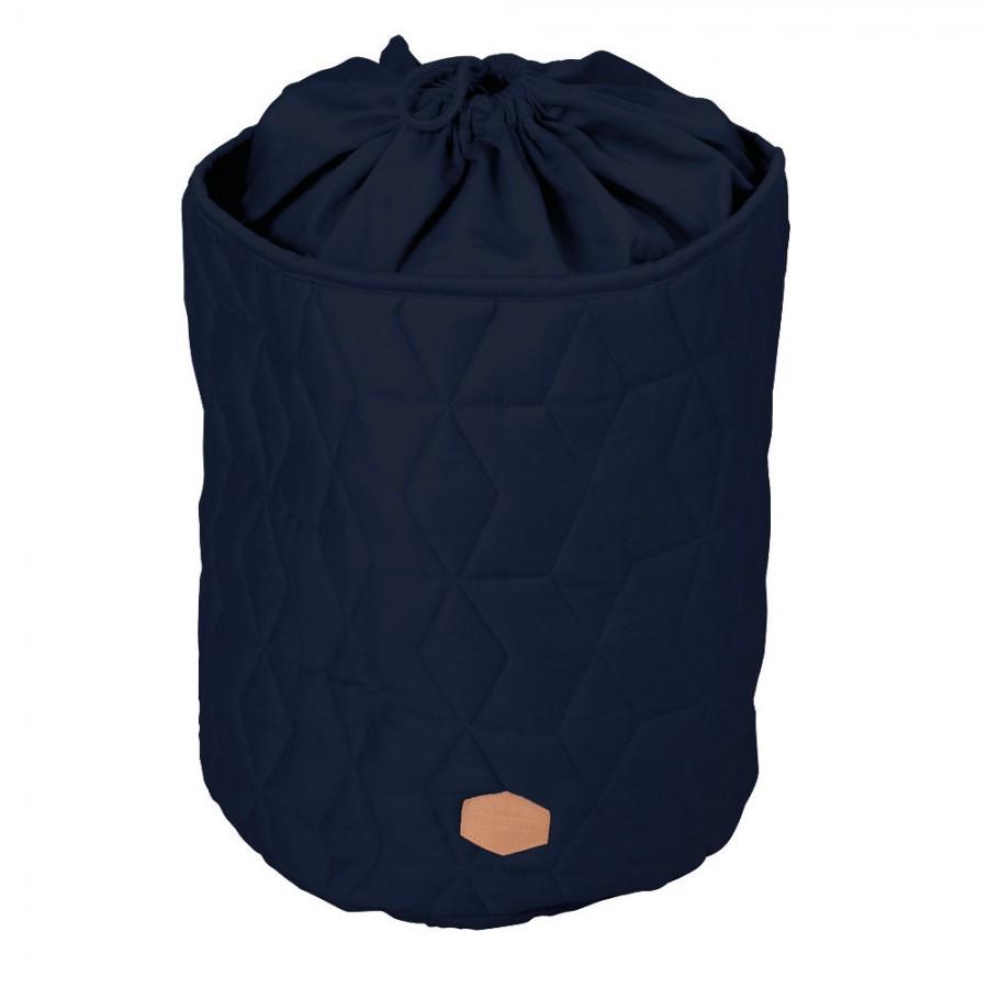 Filibabba - Zamykany pojemnik materiałowy na zabawki Pikowany Dark Blue - Esy Floresy