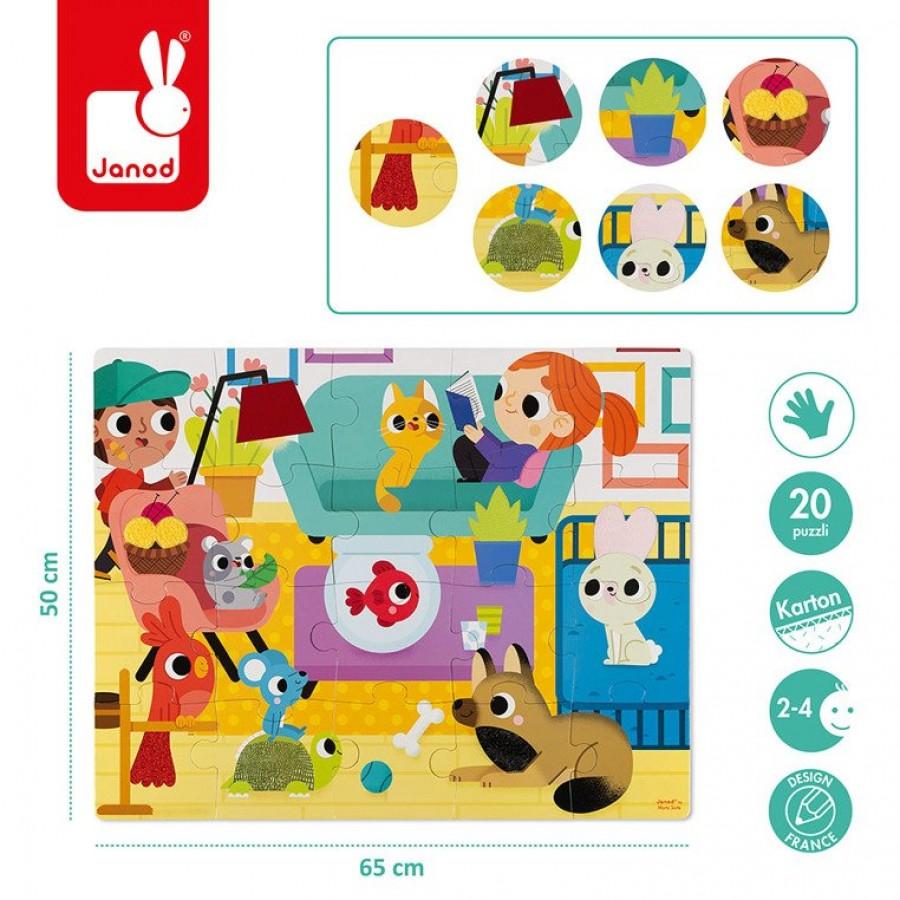 Janod - Puzzle sensoryczne 20 elementów Zwierzęta domowe - Esy Floresy
