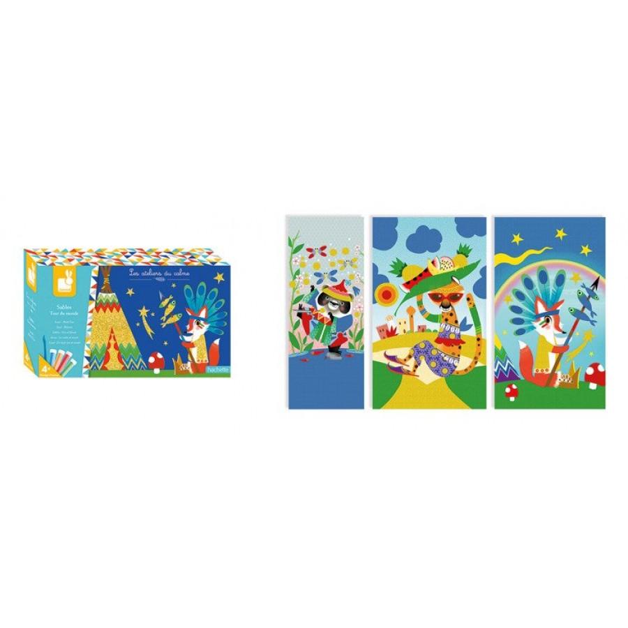Janod - Zestaw artystyczny Kreatywny piasek Podróż dookoła świata - Esy Floresy