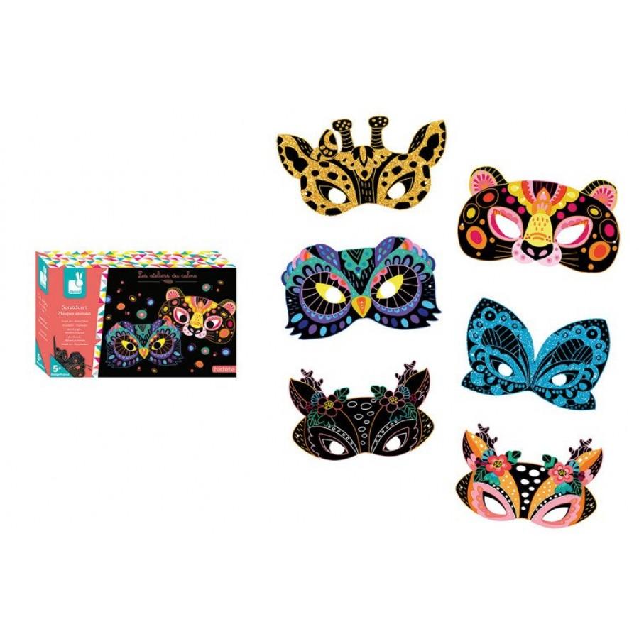 Janod - Zestaw artystyczny Do zdrapywania Maski zwierząt - Esy Floresy