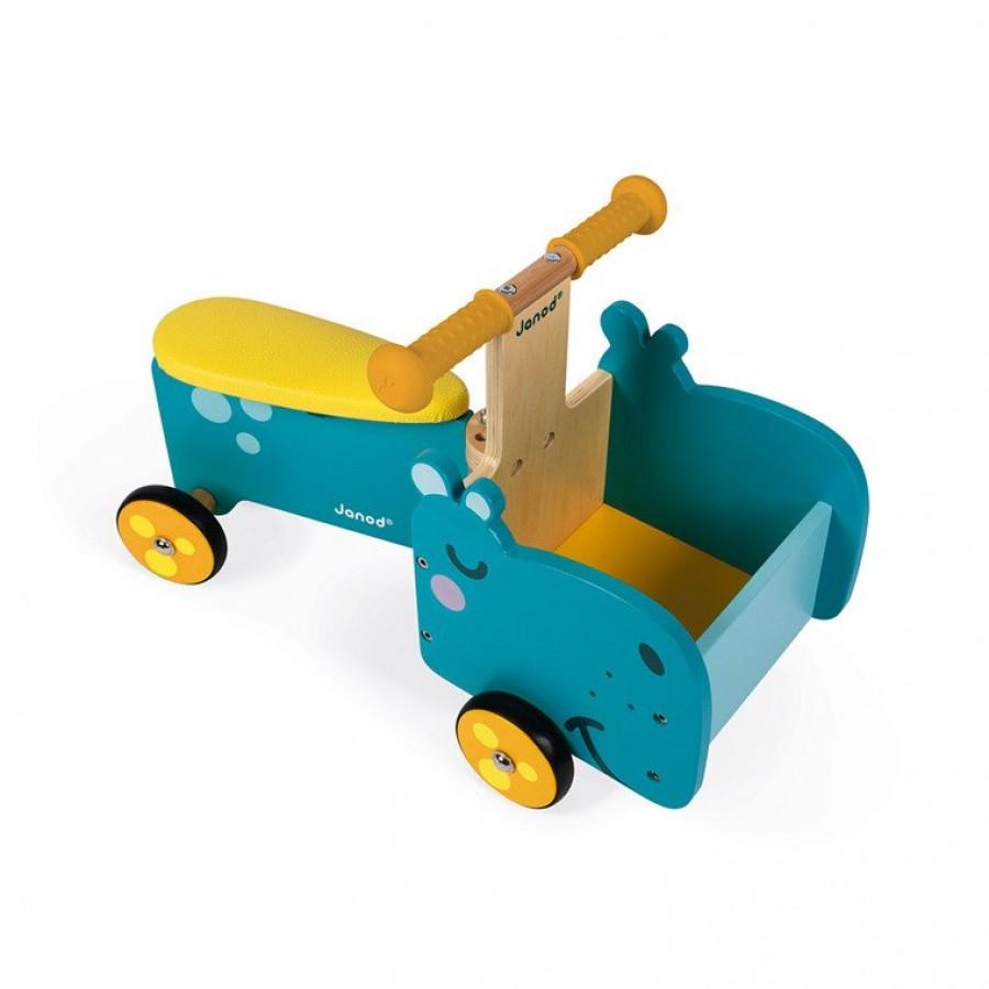 Janod - Drewniany jeździk ze skrzynią Hipopotam - Esy Floresy