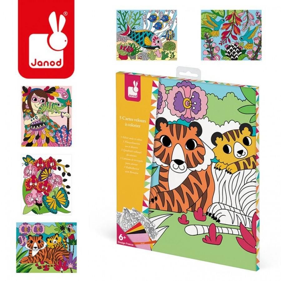 Janod - Zestaw kreatywny Aksamitne karty Tropikalna dżungla - Esy Floresy