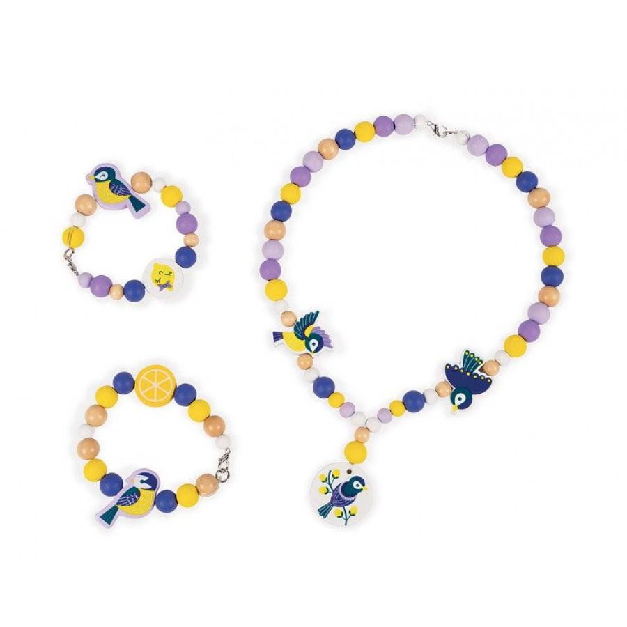 Janod - Zestaw do tworzenia biżuterii Drewniane koraliki Sikorki - Esy Floresy