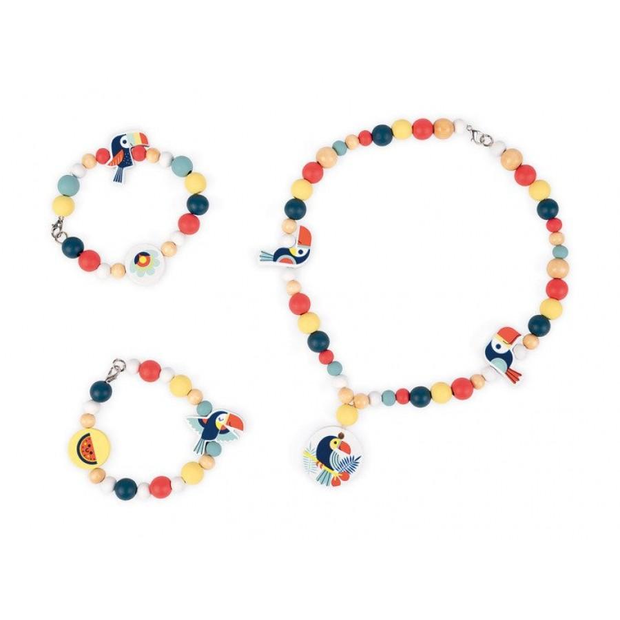 Janod - Zestaw do tworzenia biżuterii Drewniane koraliki Tukany - Esy Floresy