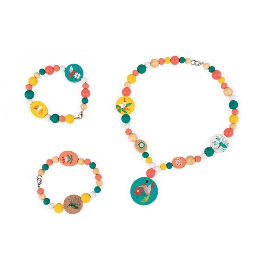 Janod - Zestaw do tworzenia biżuterii Drewniane koraliki z elementami fluorescencyjnymi Kolibry - Esy Floresy