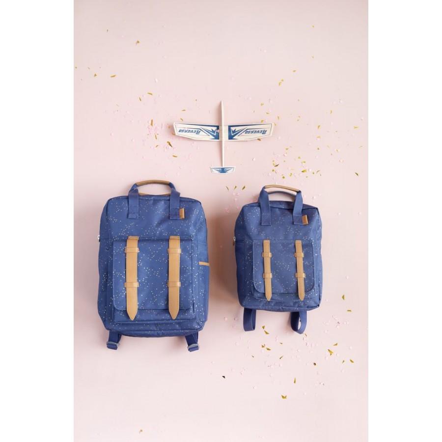 Fresk - Duży plecak Złote kropki Indigo - Esy Floresy