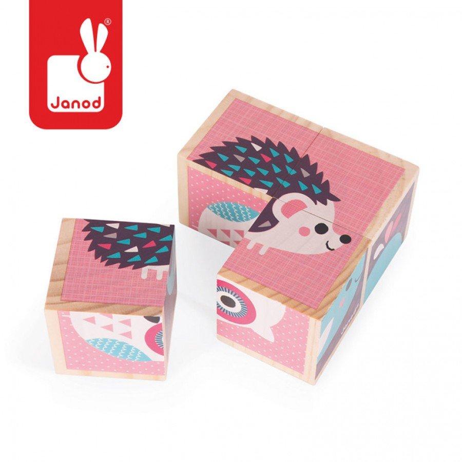 Janod - Klocki Drewniane Puzzle 6w1 Zwierzątka | Esy Floresy